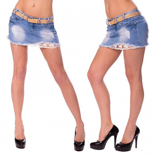7110354b7dec Dámska móda a doplnky - Dámska riflová sukňa s čipkou a opaskom ...