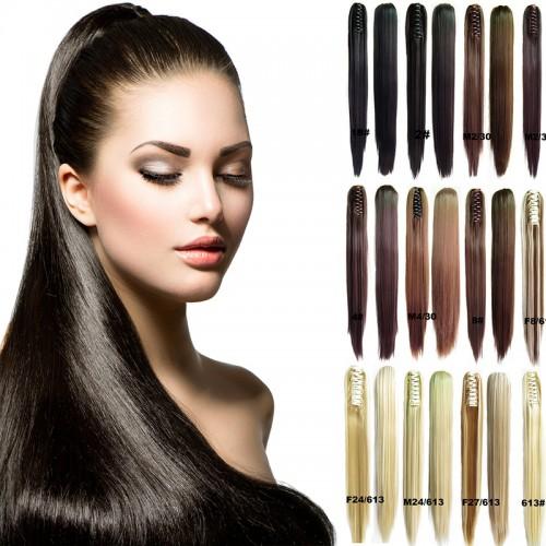 Predlžovanie vlasov a účesy - Cop - vrkoč 60 cm na škripci - rovný ... 0e5c7224606