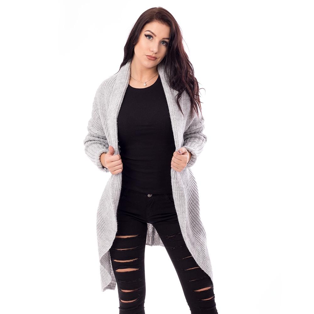 Dámska móda a doplnky - Dámsky dlhý pulovr- šedý ... 508738e3642