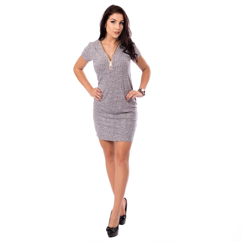 6057edaf0f00 Dámska móda a doplnky - Dámske šaty so zlatým zipsom vo výstrihu - šedé ...