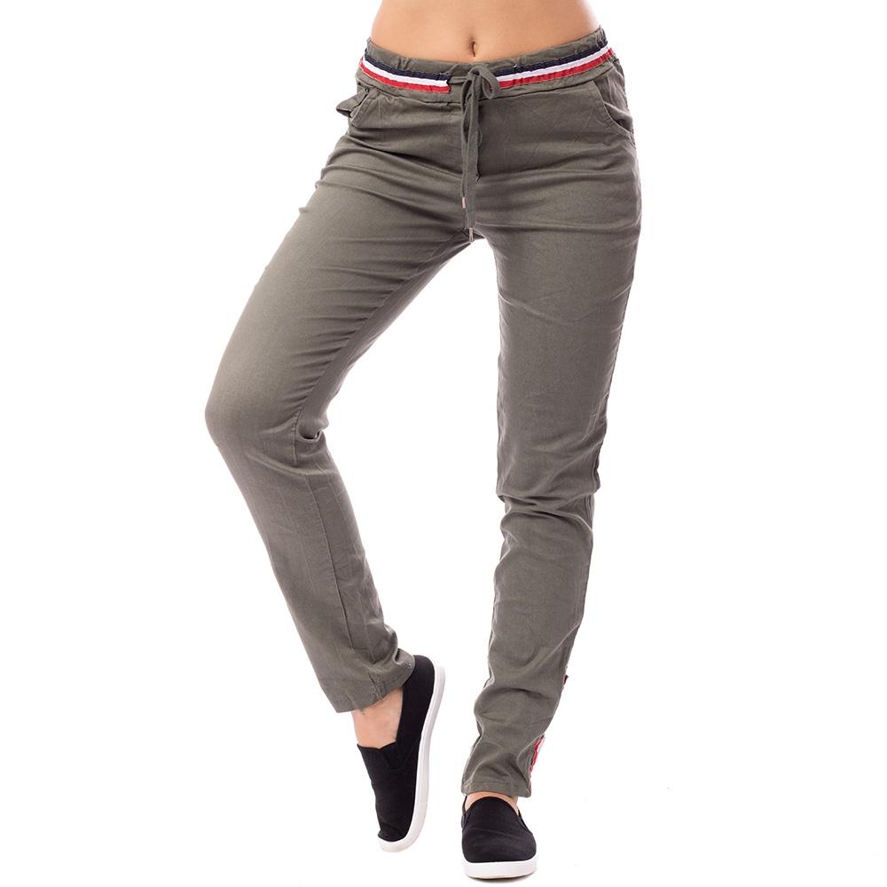 1b45bef56fd4 Dámska móda a doplnky - Dámske plátené nohavice - khaki zelené ...