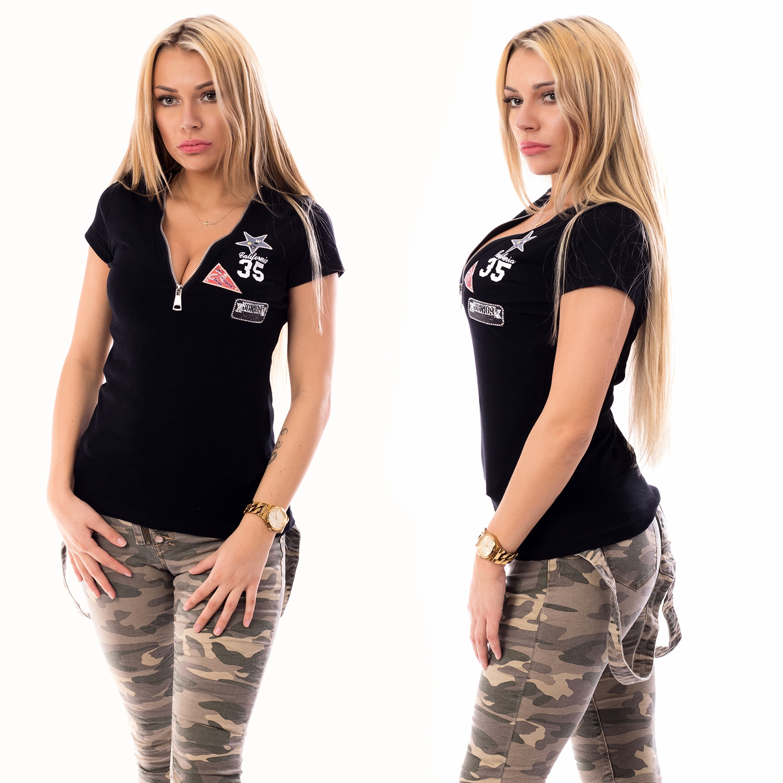 cf915d0c8e31 Dámska móda a doplnky - Dámske tričko so zipsovým výstrihom - čierne