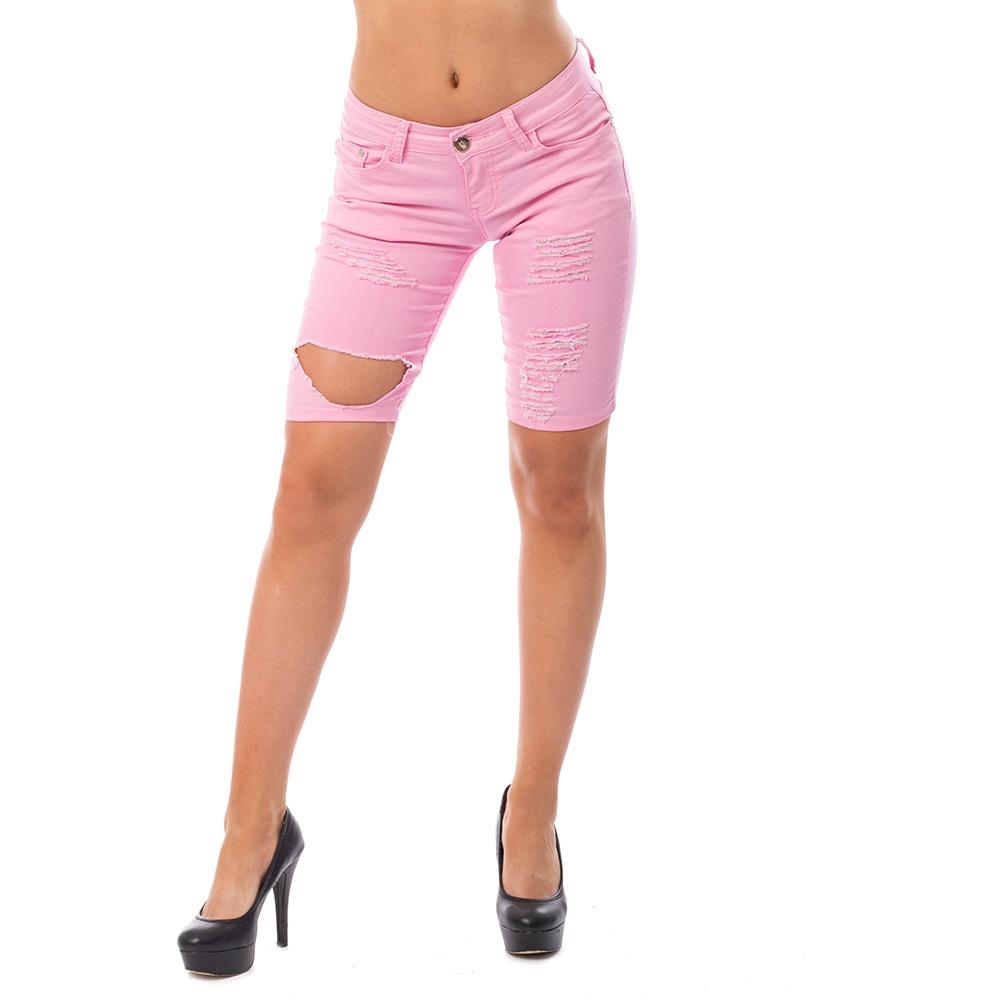 d317baa705f6 ... Dámska móda a doplnky - Dámske kraťasy s dierami - ružové ...