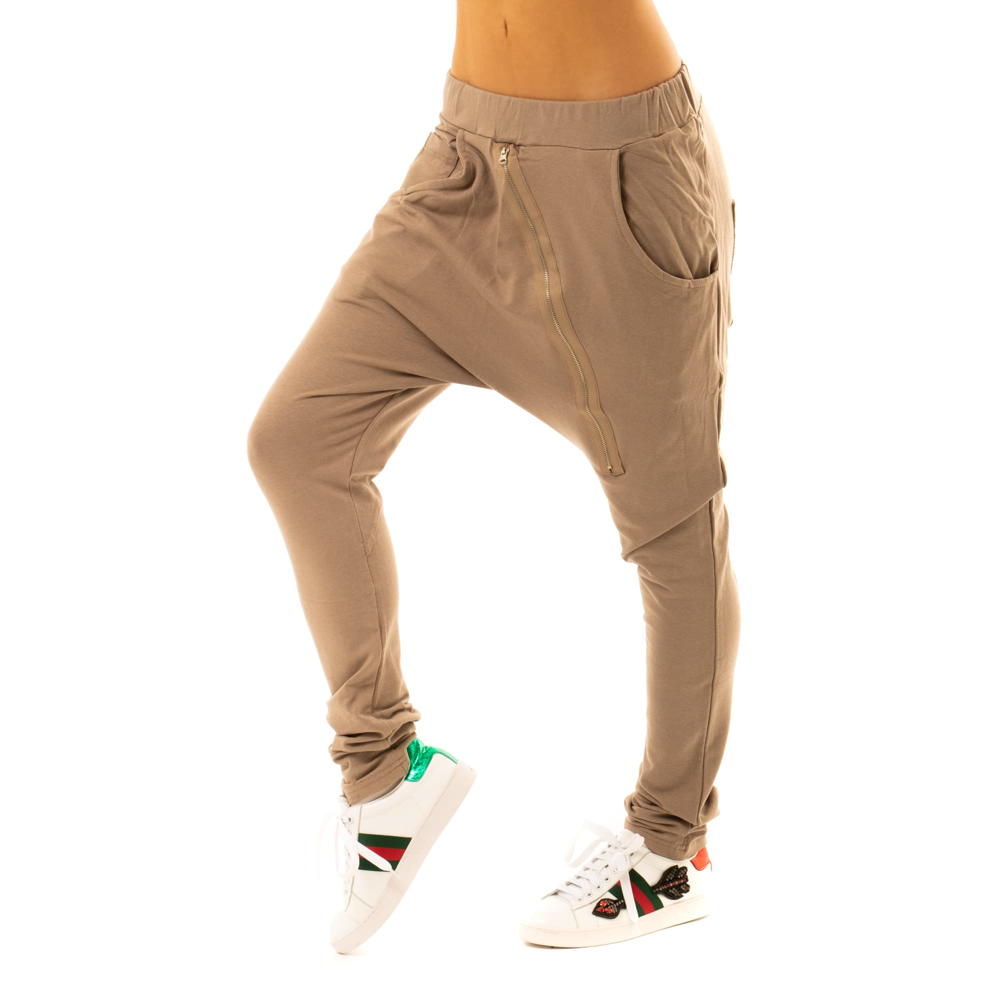 4250f6dec959 Dámska móda a doplnky - Háremové nohavice so zipsom - svetlo hnedé ...