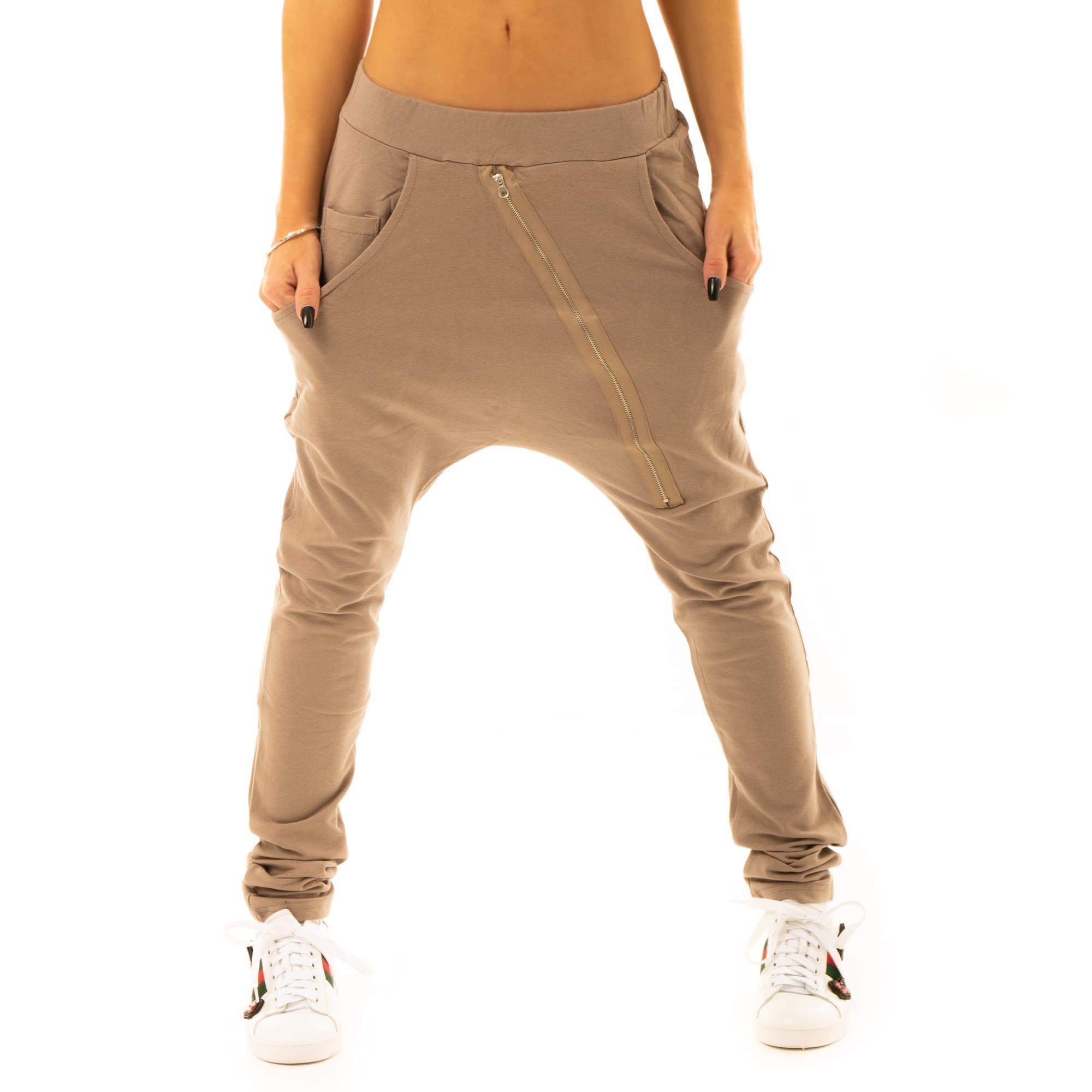 55c5bd4bb202 ... Dámska móda a doplnky - Háremové nohavice so zipsom - svetlo hnedé