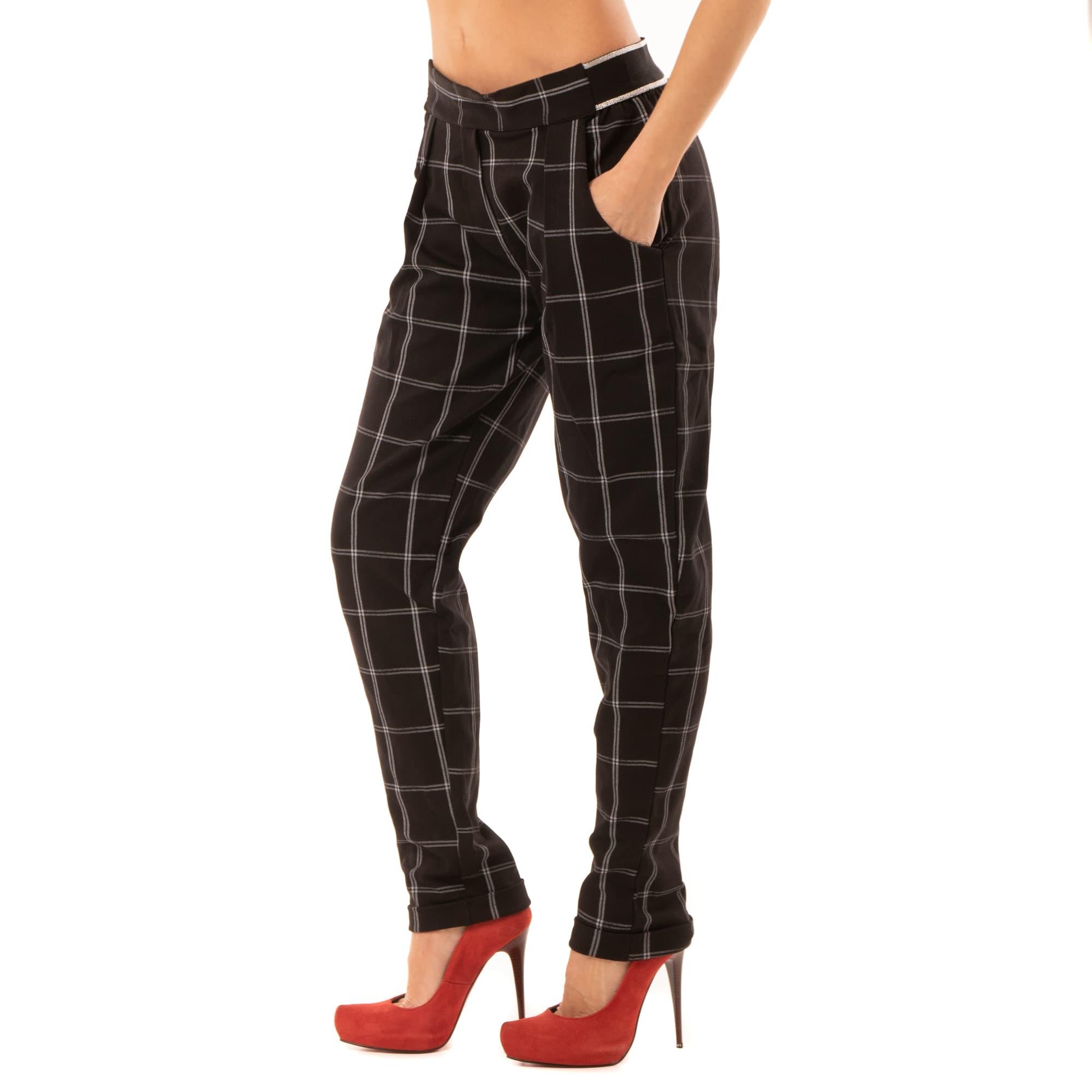 4eb63bd23a2d Dámska móda a doplnky - Elegantné kárované nohavice s lemom ...