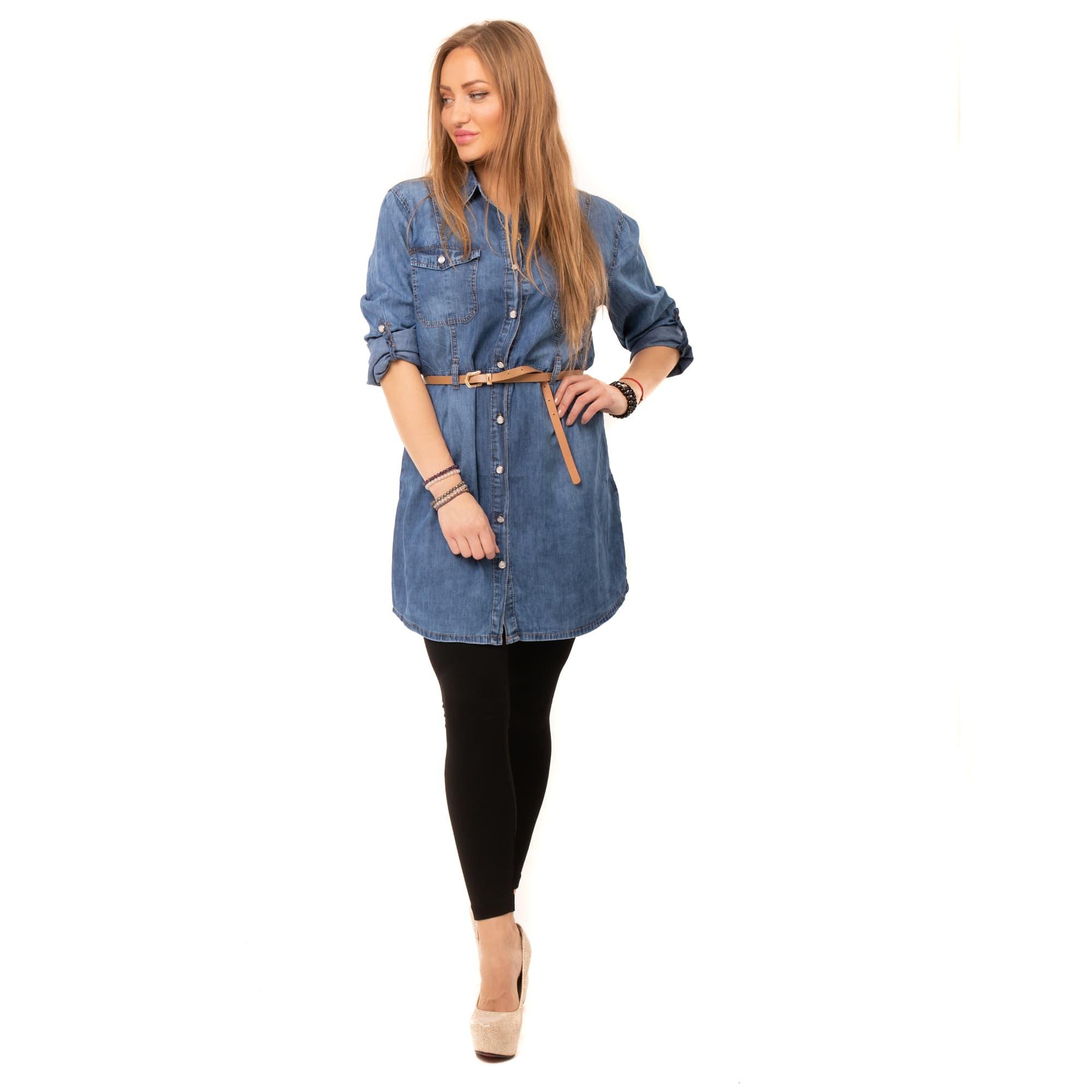 1b96ca9a79d2 Dámska móda a doplnky - Košeľová jeans tunika k legínam - modrá ...