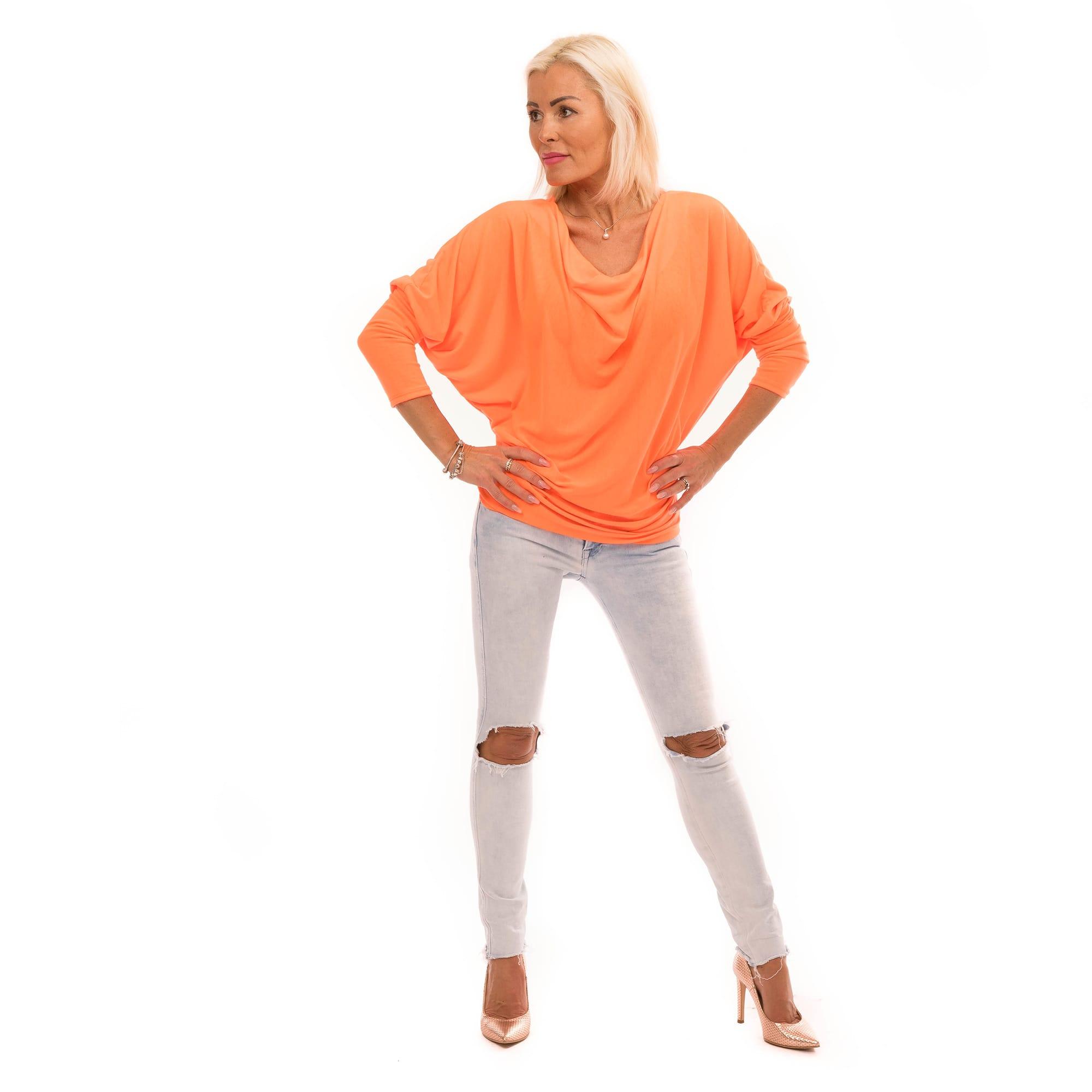 31d02a59dc04 Dámska móda a doplnky - Blúzka s výstrihom voda - Neon Orange ...