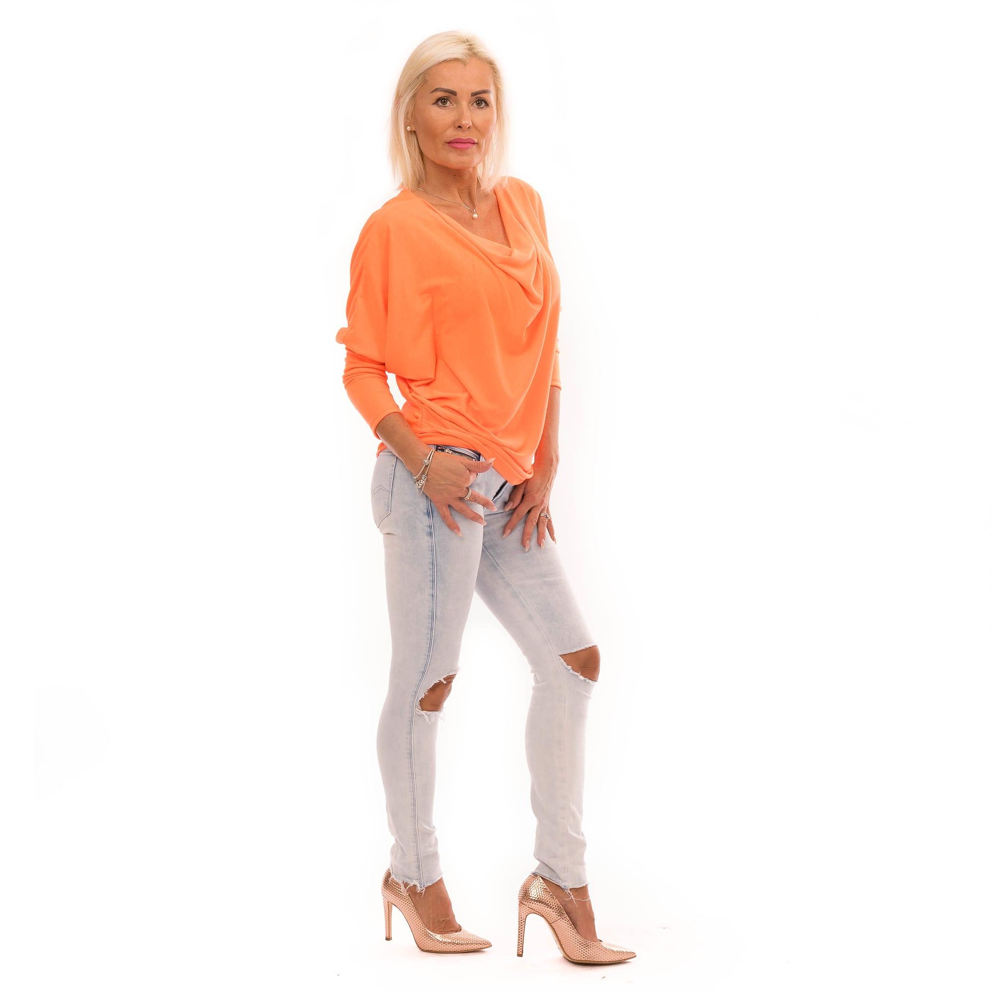 305c01da05fe ... Dámska móda a doplnky - Blúzka s výstrihom voda - Neon Orange ...