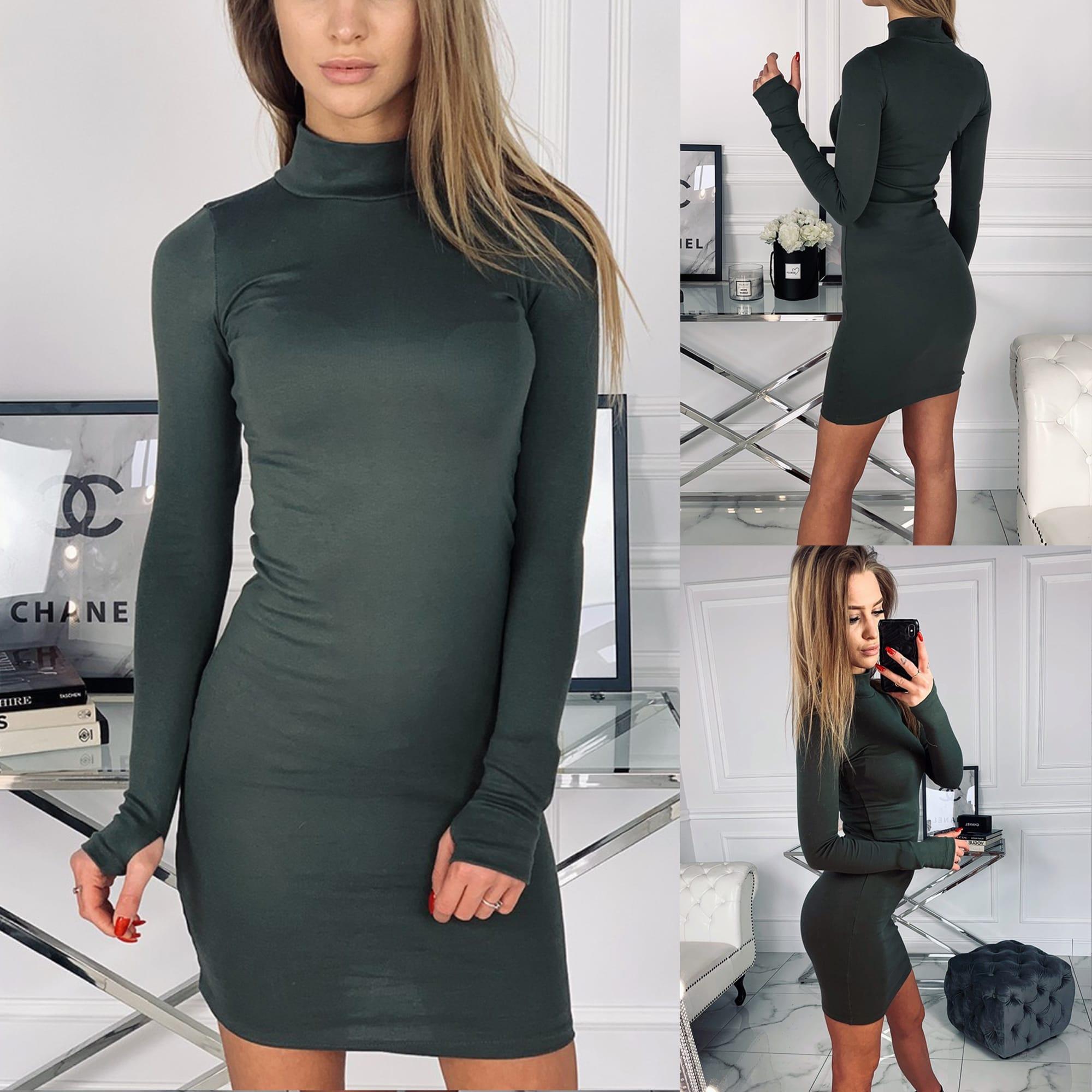 801ac7dd7e59 Dámska móda a doplnky - Dámske elastické šaty Golf - khaki ...
