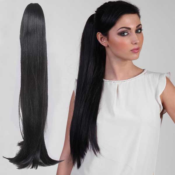 Predlžovanie vlasov a účesy - Cop - cop rovný extra dlhý 85 cm na štipci ... fcb351e1388