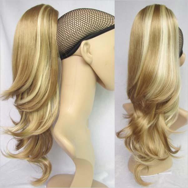 Predlžovanie vlasov a účesy - Cop vlnitý na štipci 55 cm - mix blond F27  78b33ac4d6a