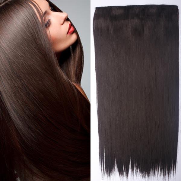 Clip in vlasy - 60 cm dlhý pás vlasov - odtieň (4 (čokoládovo hnedá)) - Světové Zboží