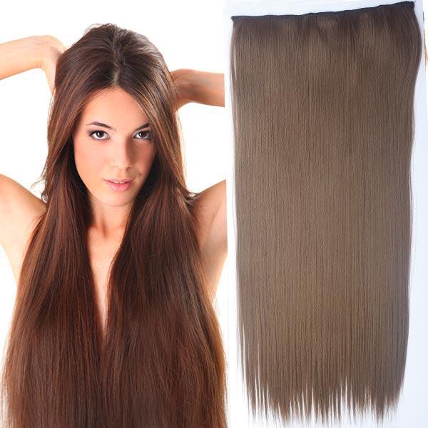 Clip in vlasy - 60 cm dlhý pás vlasov - odtieň (12 (karamelovo hnedá)) - Světové Zboží