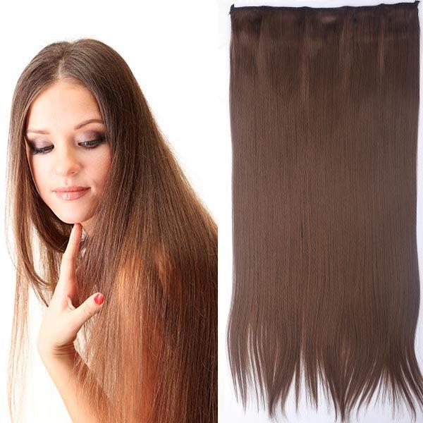 Clip in vlasy - 60 cm dlhý pás vlasov - odtieň (10 (medovo hnedá)) - Světové Zboží