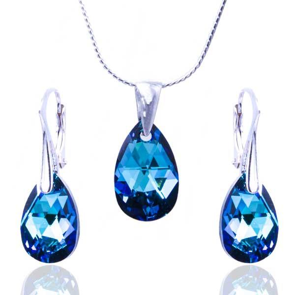 Dámska móda a doplnky - Súprava Swarovski elements - kvapka Bermunda blue 54a15c2129d
