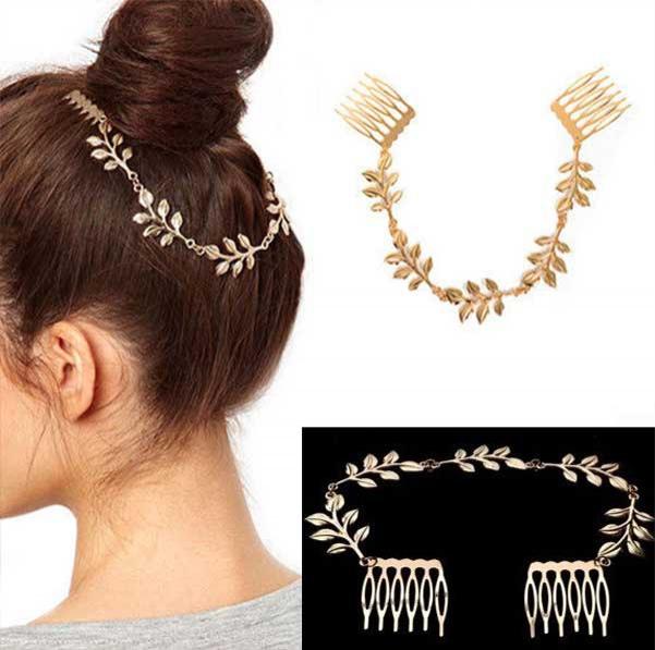 c3a84c6e6c2 Predlžovanie vlasov a účesy - Čelenka do vlasov so zlatými listami a sponami
