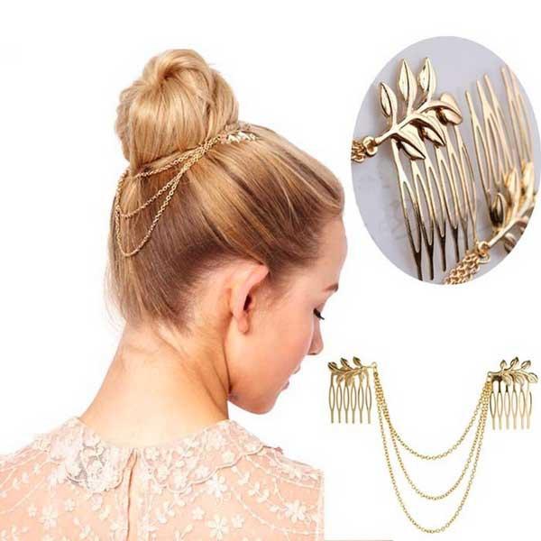 14aba6dc79d Predlžovanie vlasov a účesy - Zlaté retiazky do vlasov s listami ...