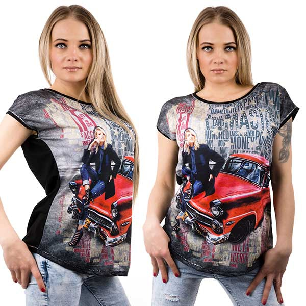dd72e111bc0b Dámska móda a doplnky - Čierne tričko s motívom auta ...