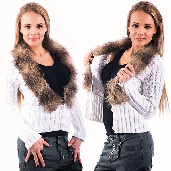 2524e7d69de2 Dámska móda a doplnky - Dámsky elegantný svetrík s kožušinovým golierom -  biely ...