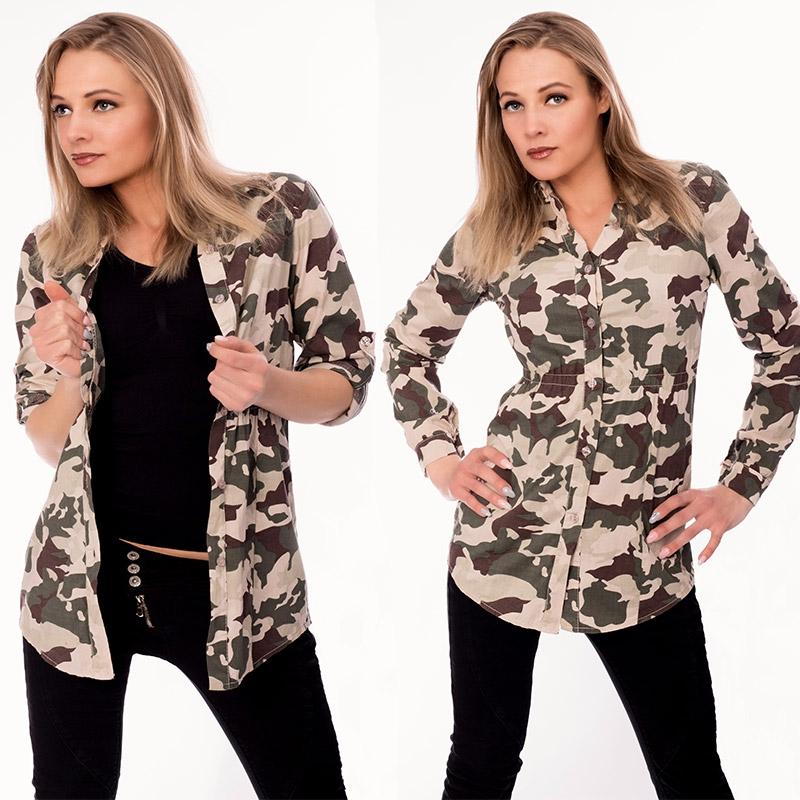 9e844abd530b Dámska móda a doplnky - Dámska košeľa - army štýl ...