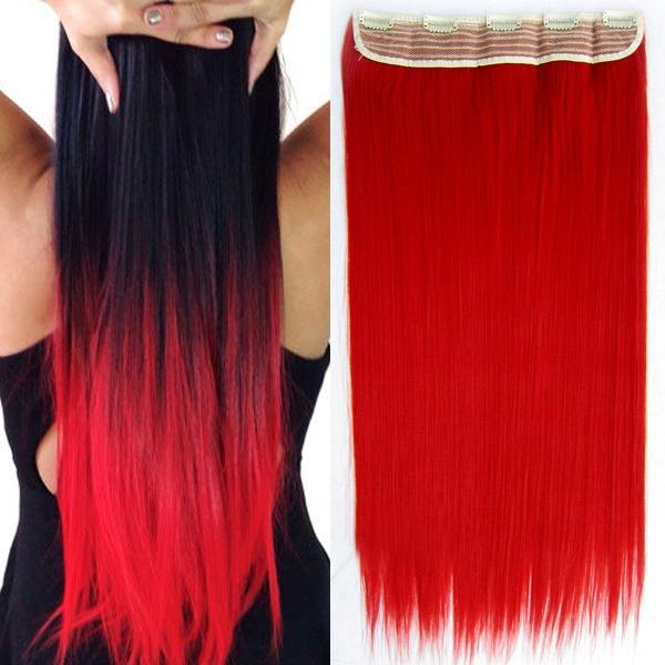 Svetový Tovar Clip in vlasy - 60 cm dlhý pás vlasov - odtieň RED (odstín RED) - Světové Zboží