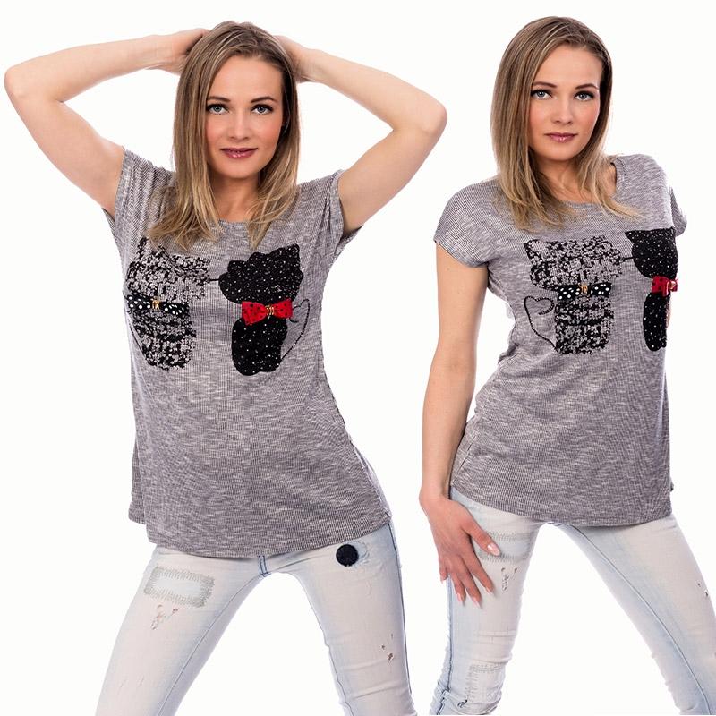 5b5cc52f8f95 Dámska móda a doplnky - Dámske tričko s aplikáciou mačiek - svetlo šedé ...