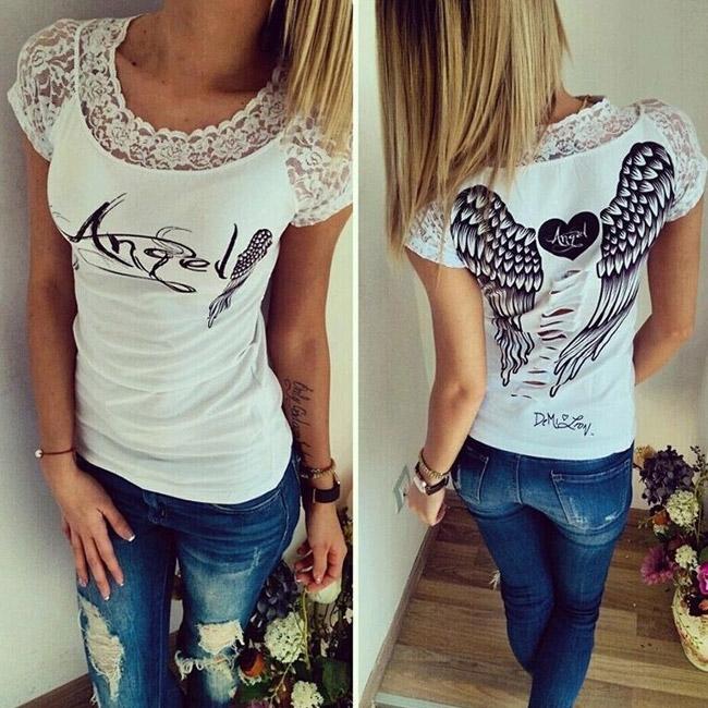 ee5fbf48b1a8 Dámska móda a doplnky - Dámske tričko Angel - biele