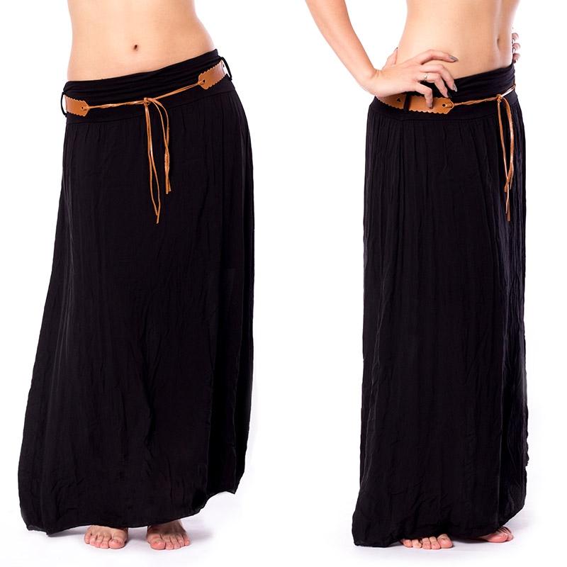 1072cb790bc6 Dámska móda a doplnky - Dlhá čierna sukňa s opaskom ...