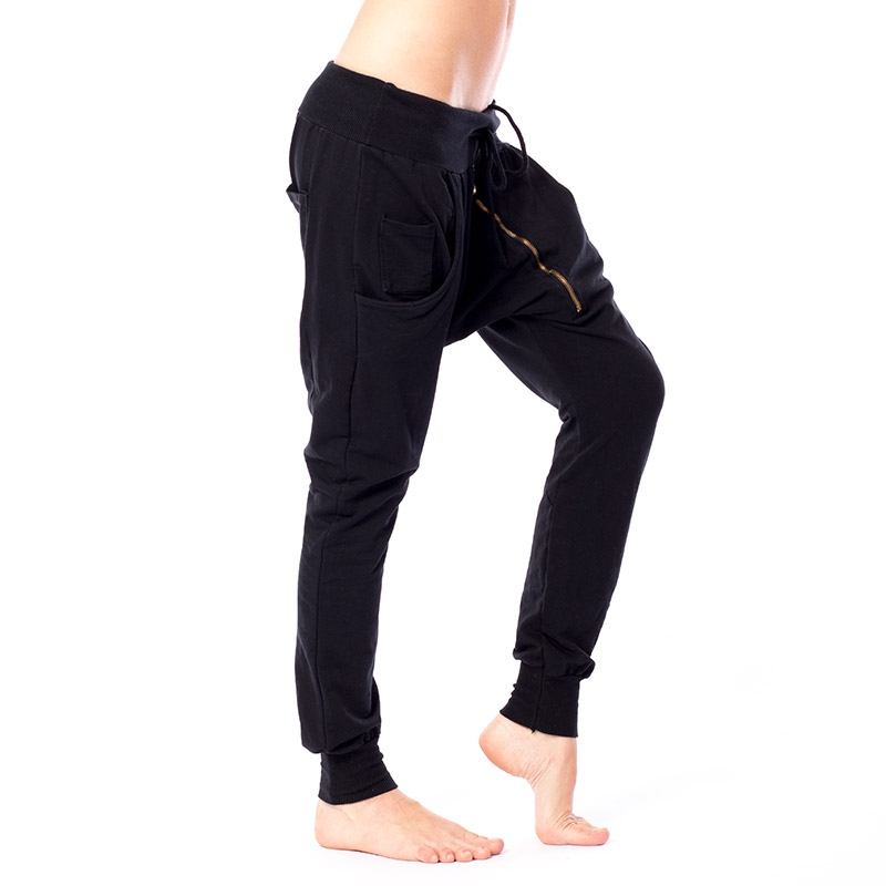 ac0964e6715e ... Dámska móda a doplnky - Čierne haremky so šikmým zipsom ...