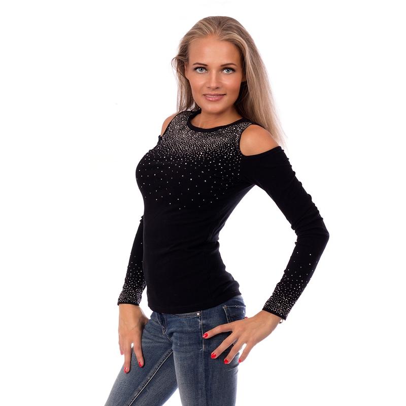 2c8d0c0dfc74 ... Dámska móda a doplnky - Dámska elegantná blúzka so zirkónmi - GLANC-  čierna