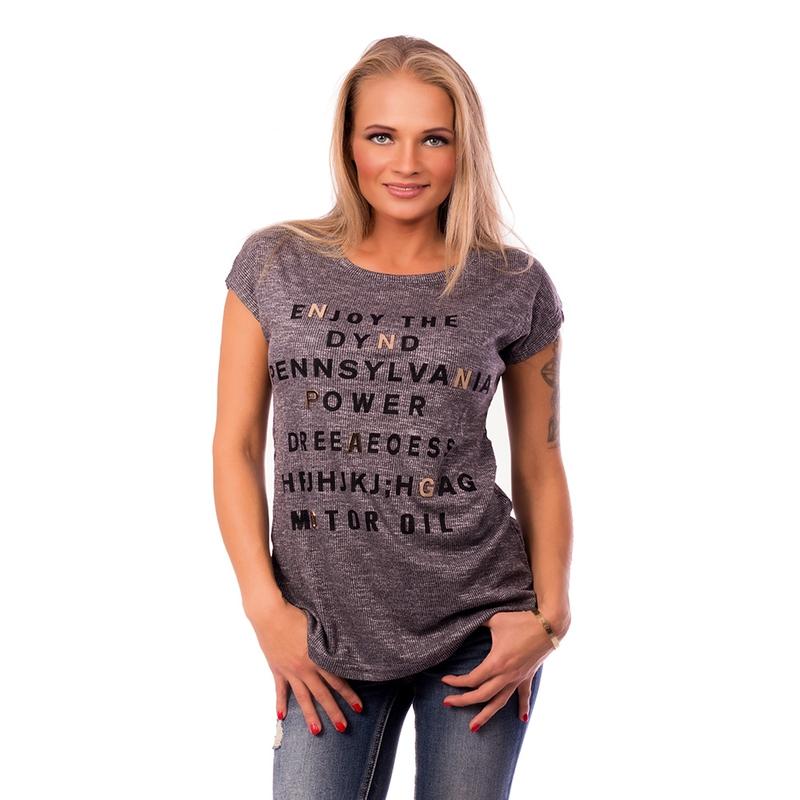 d83078bfe1c1 Dámska móda a doplnky - Dámske tričko s módnou aplikáciou METALLIC LETTER -  tmavo šedé ...