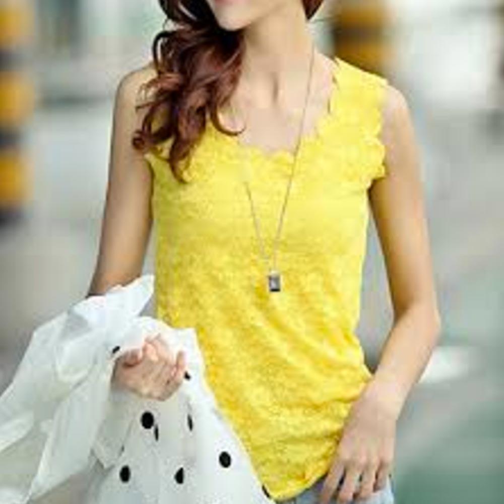 V&V Dámsky čipkovaný top Blossom (žltá farba) - V&V