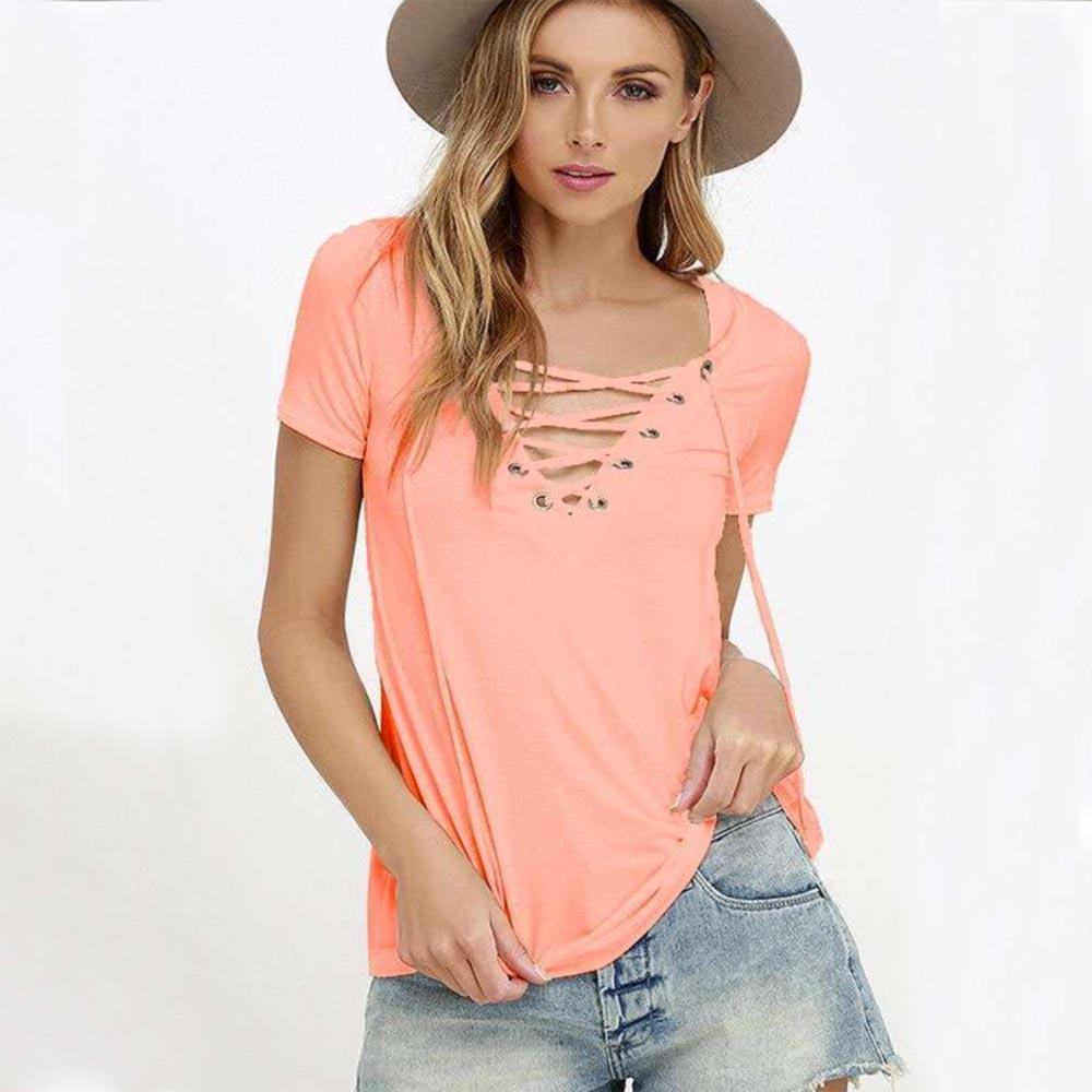 Dámska móda a doplnky - Dámske tričko s výstrihom Criss Cross - losos 29fc9a20b4