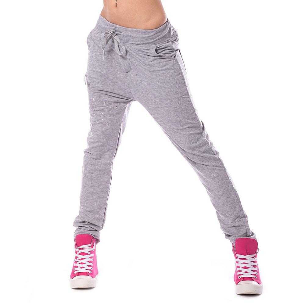 e90452b74987 ... Dámska móda a doplnky - Dámske teplákové nohavice Fashion - šedé ...