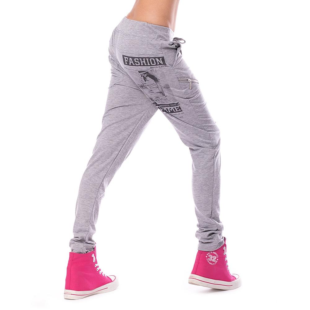 fc3b29319d0e ... Dámska móda a doplnky - Dámske teplákové nohavice Fashion - šedé ...