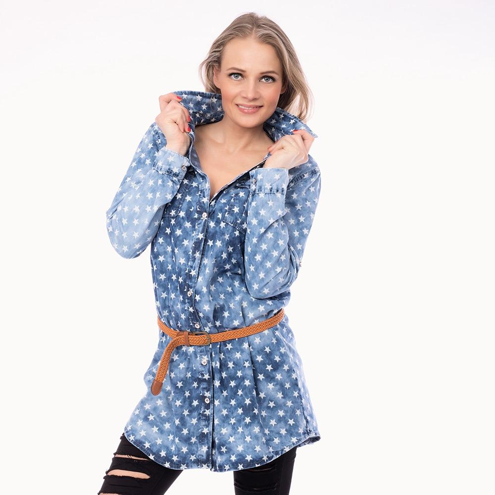 62872b34dfc3 Dámska móda a doplnky - Dámska jeans košeľa s pásikom - Blue stars ...
