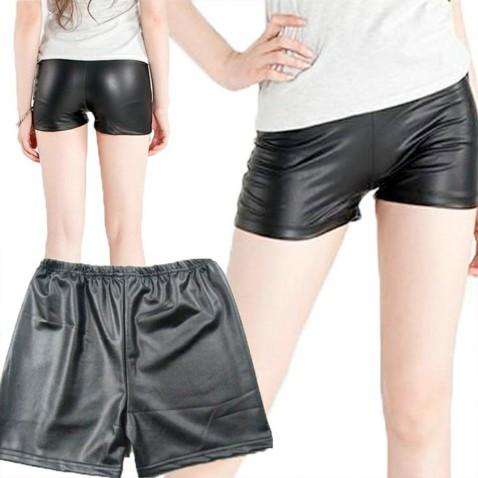 Dámske šortky - lesklá, čierna koža