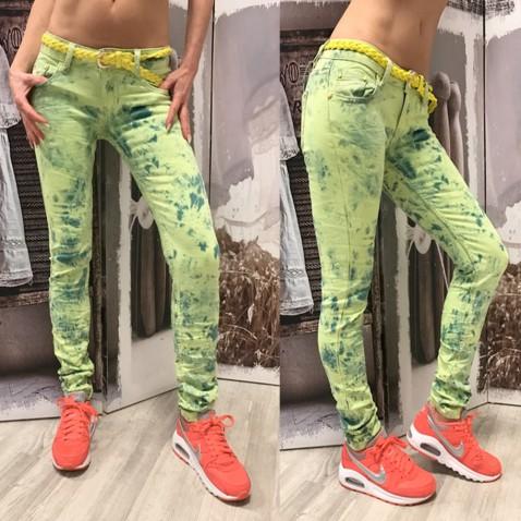 Dámske neon jeans - zelené
