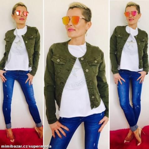 Dámska krátka jeans bundička khaki zelená