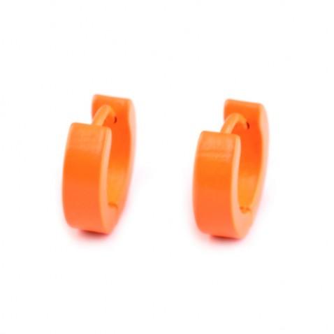 Náušnice z nerezovej ocele - Neon- oranžové