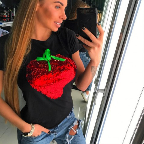 Čierne tričko Strawberry Red
