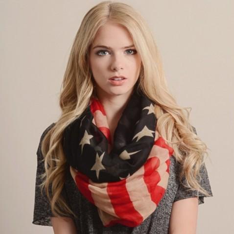 Šatka - šál - retro americká vlajka