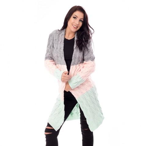 Dlhý dámsky pullover - pastelové pruhy