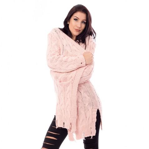 Dámsky dlhý ružový pulóver s trhaním