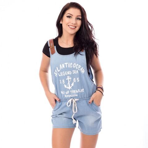 Dámsky krátky jeans overal - svetlo modrý