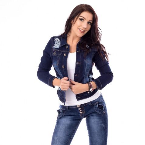 Dámska jeans bunda s trhaním - tmavo modrá