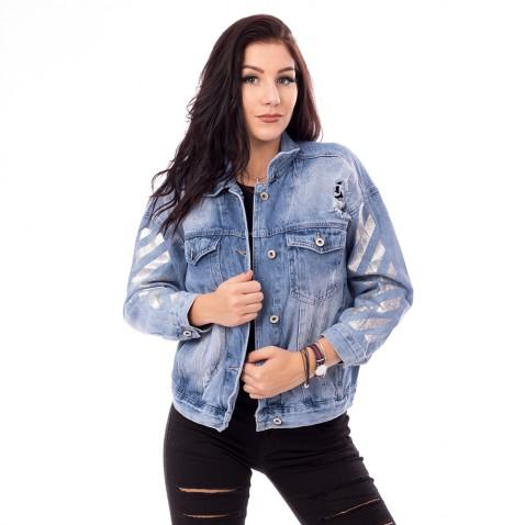 Dámska jeans bunda Love - svetlo modrá