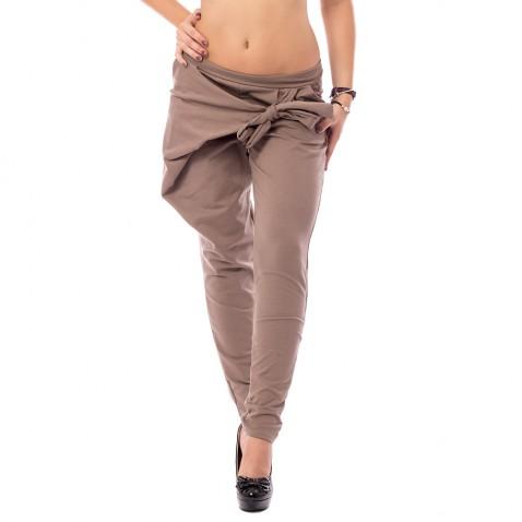 Háremové nohavice s prekladom - hnedé