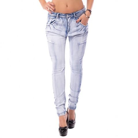Dámske svetlomodré jeans s naberaním